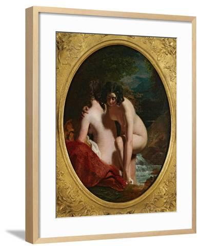 Two Girls Bathing (Oil on Panel)-William Etty-Framed Art Print
