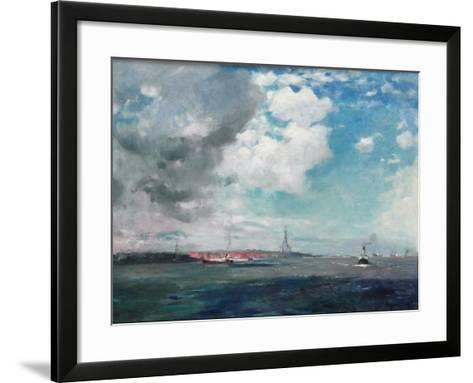 New Brighton from the Mersey, 1907 (Oil on Panel)-James Hamilton Hay-Framed Art Print