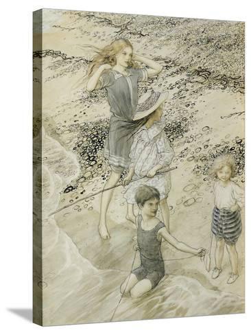 Four Children at the Seashore, 1910 (W/C on Paper)-Arthur Rackham-Stretched Canvas Print
