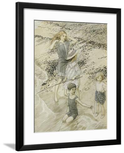 Four Children at the Seashore, 1910 (W/C on Paper)-Arthur Rackham-Framed Art Print