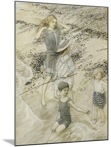 Four Children at the Seashore, 1910 (W/C on Paper)-Arthur Rackham-Mounted Giclee Print