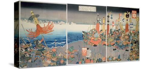 The Ashikaga Fleet Sailing into Attack Nitta, C.1840, (Colour Woodblock Print)-Kuniyoshi Utagawa-Stretched Canvas Print