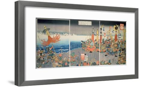 The Ashikaga Fleet Sailing into Attack Nitta, C.1840, (Colour Woodblock Print)-Kuniyoshi Utagawa-Framed Art Print