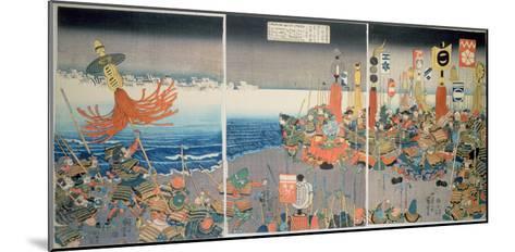 The Ashikaga Fleet Sailing into Attack Nitta, C.1840, (Colour Woodblock Print)-Kuniyoshi Utagawa-Mounted Giclee Print