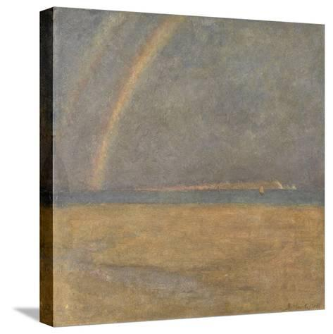 Rainbow over the Needles, Isle of Wight, C.1890 (Oil on Board)-Arthur George Bell-Stretched Canvas Print