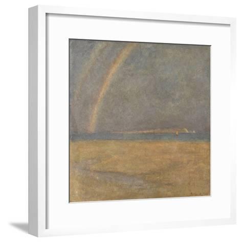 Rainbow over the Needles, Isle of Wight, C.1890 (Oil on Board)-Arthur George Bell-Framed Art Print