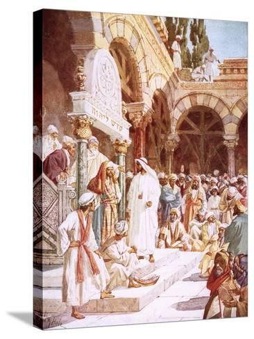 Jesus Preaching in the Temple-William Brassey Hole-Stretched Canvas Print
