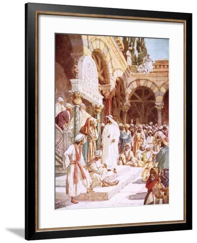 Jesus Preaching in the Temple-William Brassey Hole-Framed Art Print