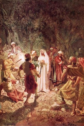 Judas Betraying Jesus with a Kiss, in the Garden of Gethsemane-William Brassey Hole-Stretched Canvas Print
