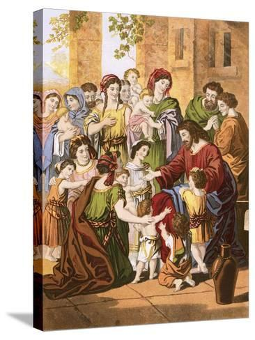Christ Blessing Little Children-English-Stretched Canvas Print