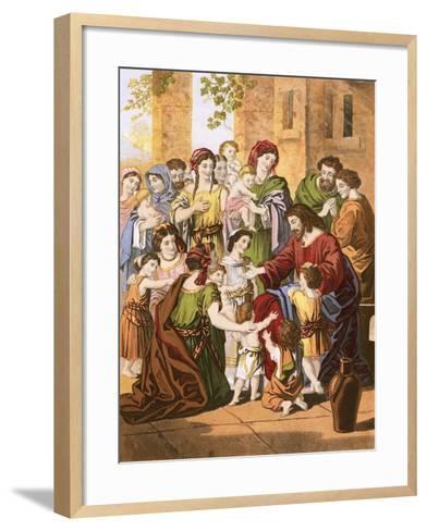 Christ Blessing Little Children-English-Framed Art Print