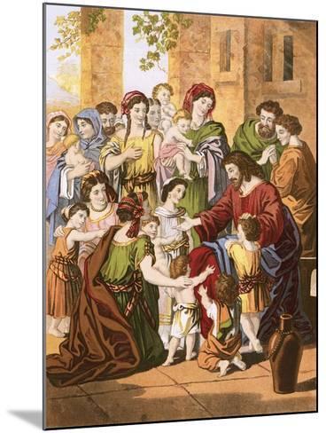 Christ Blessing Little Children-English-Mounted Giclee Print