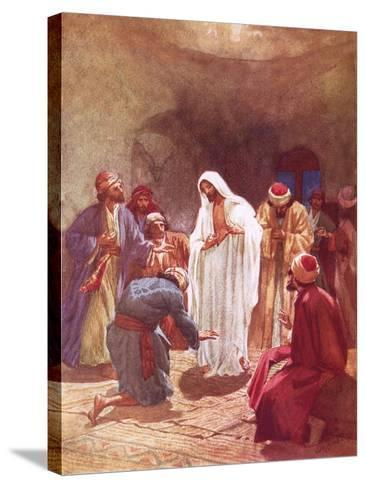 Jesus Childing Thomas for His Unbelief-William Brassey Hole-Stretched Canvas Print