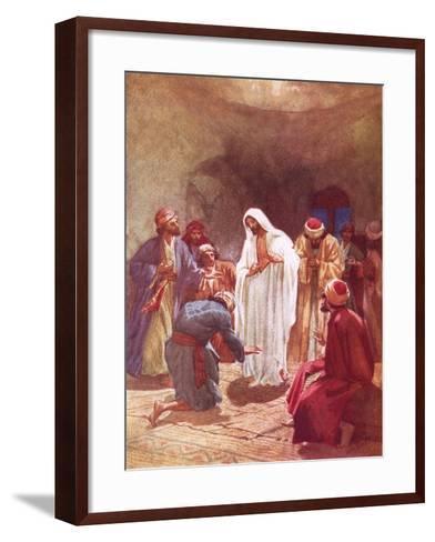 Jesus Childing Thomas for His Unbelief-William Brassey Hole-Framed Art Print