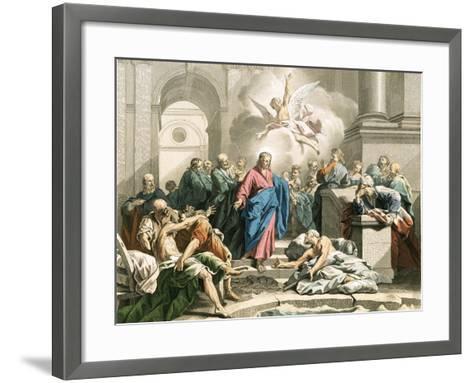 Jesus Curing an Impotent Man at the Pool of Bethesda-Jean Bernard Restout-Framed Art Print