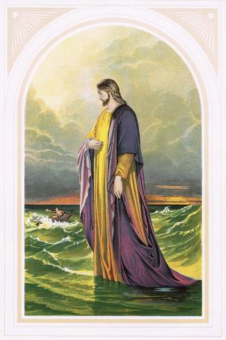 Christ Walking on the Sea-English-Stretched Canvas Print