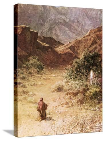 Moses and the Burning Bush-William Brassey Hole-Stretched Canvas Print