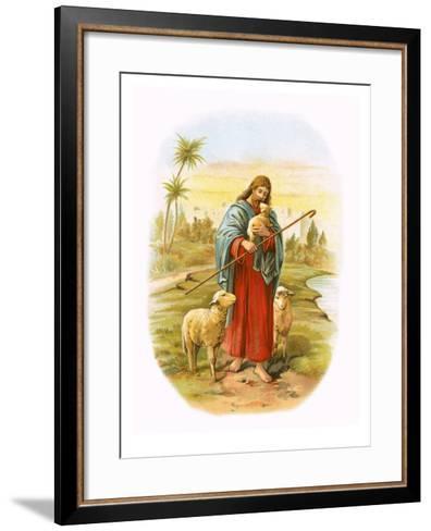 Jesus, the Good Shepherd-English-Framed Art Print
