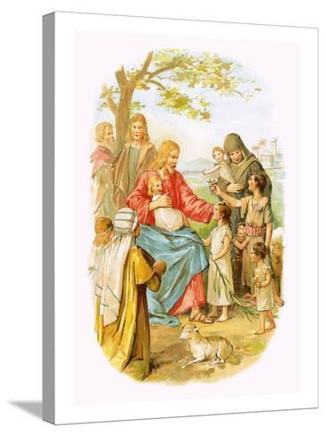 Jesus Blessing the Children-English-Stretched Canvas Print