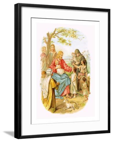 Jesus Blessing the Children-English-Framed Art Print