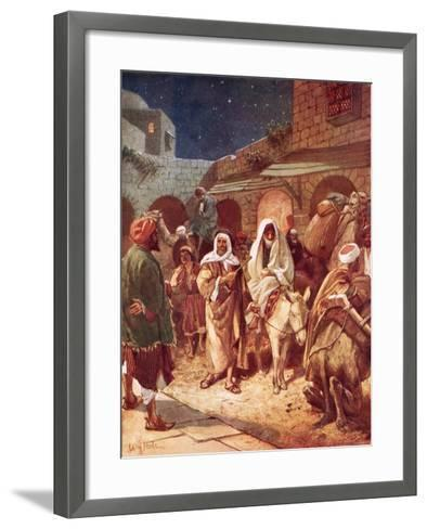 Joseph and Mary Arrive at Bethlehem, But Find There Is No Room for Them at the Inn-William Brassey Hole-Framed Art Print