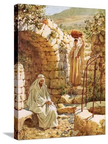 Jesus Resting by Jacob's Well-William Brassey Hole-Stretched Canvas Print