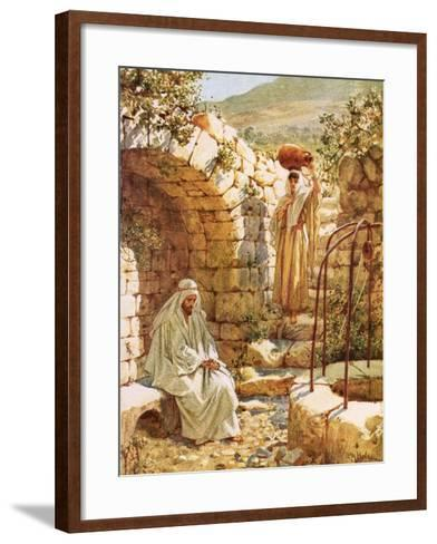 Jesus Resting by Jacob's Well-William Brassey Hole-Framed Art Print