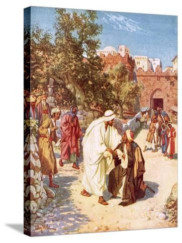 Jesus Healing a Leper-William Brassey Hole-Stretched Canvas Print