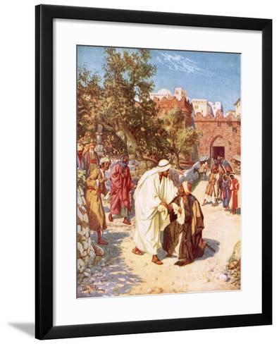 Jesus Healing a Leper-William Brassey Hole-Framed Art Print