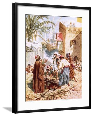 A Paralytic Man Being Let Down Through the Roof-William Brassey Hole-Framed Art Print