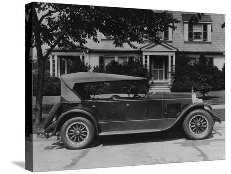 Dupont Automobile on Front of House, C.1919-30 (B/W Photo)-American Photographer-Stretched Canvas Print