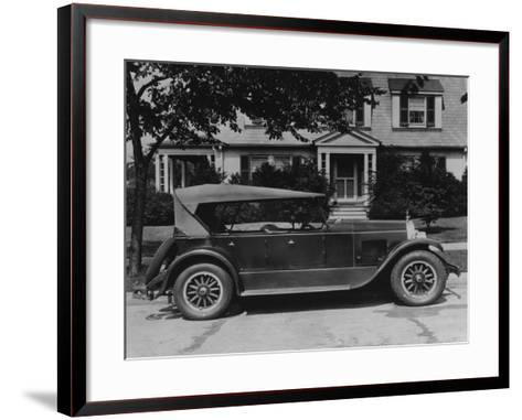 Dupont Automobile on Front of House, C.1919-30 (B/W Photo)-American Photographer-Framed Art Print