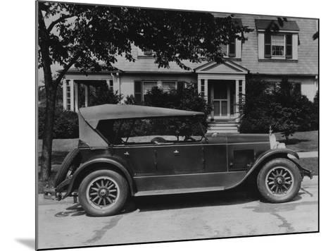 Dupont Automobile on Front of House, C.1919-30 (B/W Photo)-American Photographer-Mounted Giclee Print