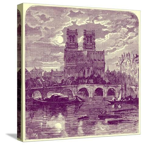 Cathedral of Notre Dame, Illustration from 'French Pictures' by Samuel Green, Published 1878-Richard Principal Leitch-Stretched Canvas Print