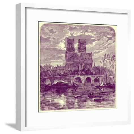 Cathedral of Notre Dame, Illustration from 'French Pictures' by Samuel Green, Published 1878-Richard Principal Leitch-Framed Art Print