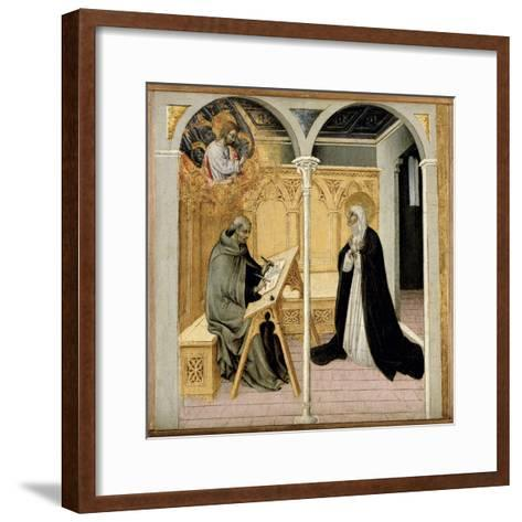 St. Catherine of Siena Dictating Her Dialogues, C.1447-61 (Tempera on Panel)-Giovanni di Paolo di Grazia-Framed Art Print