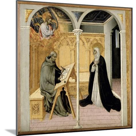 St. Catherine of Siena Dictating Her Dialogues, C.1447-61 (Tempera on Panel)-Giovanni di Paolo di Grazia-Mounted Giclee Print
