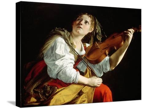 Young Woman with a Violin, c.1612-Orazio Gentileschi-Stretched Canvas Print