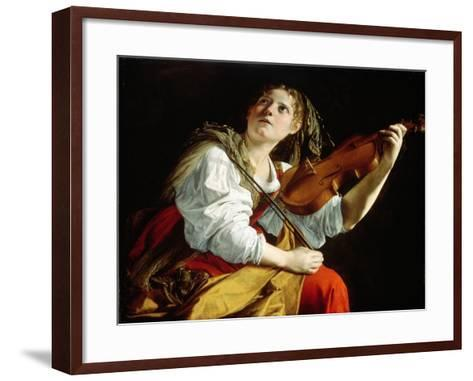 Young Woman with a Violin, c.1612-Orazio Gentileschi-Framed Art Print