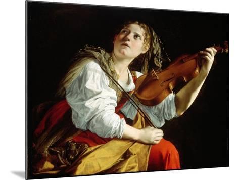 Young Woman with a Violin, c.1612-Orazio Gentileschi-Mounted Giclee Print