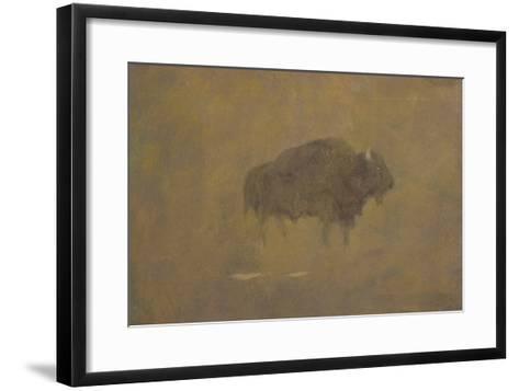 Buffalo in a Sandstorm (Oil on Paper Mounted on Board)-Albert Bierstadt-Framed Art Print