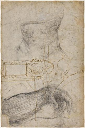 Scheme for the Decoration of the Ceiling of the Sistine Chapel, C.1508-Michelangelo Buonarroti-Stretched Canvas Print
