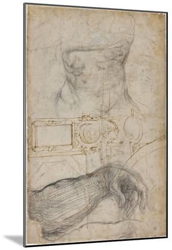 Scheme for the Decoration of the Ceiling of the Sistine Chapel, C.1508-Michelangelo Buonarroti-Mounted Giclee Print