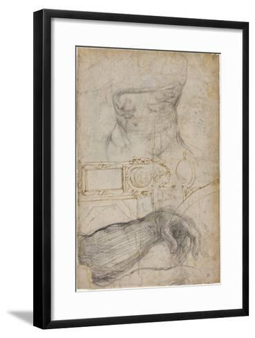 Scheme for the Decoration of the Ceiling of the Sistine Chapel, C.1508-Michelangelo Buonarroti-Framed Art Print