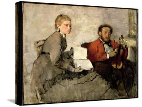 Violinist and Young Woman, C.1871 (Oil and Crayon on Canvas)-Edgar Degas-Stretched Canvas Print