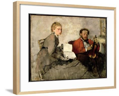 Violinist and Young Woman, C.1871 (Oil and Crayon on Canvas)-Edgar Degas-Framed Art Print