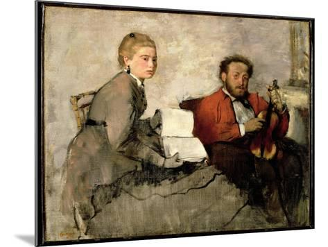 Violinist and Young Woman, C.1871 (Oil and Crayon on Canvas)-Edgar Degas-Mounted Giclee Print