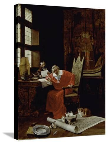 The Cardinal's Leisure-Charles Edouard Delort-Stretched Canvas Print