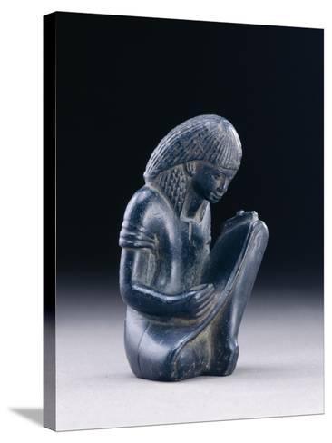 Seated Scribe, New Kingdom, 1391-1353 BC (Greywacke)-Egyptian 18th Dynasty-Stretched Canvas Print
