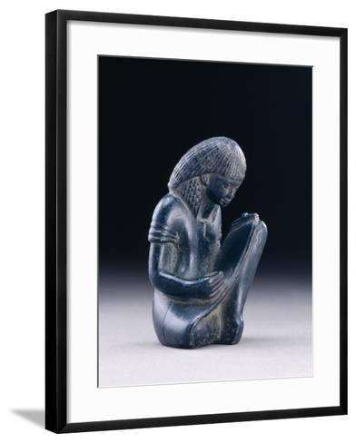 Seated Scribe, New Kingdom, 1391-1353 BC (Greywacke)-Egyptian 18th Dynasty-Framed Art Print